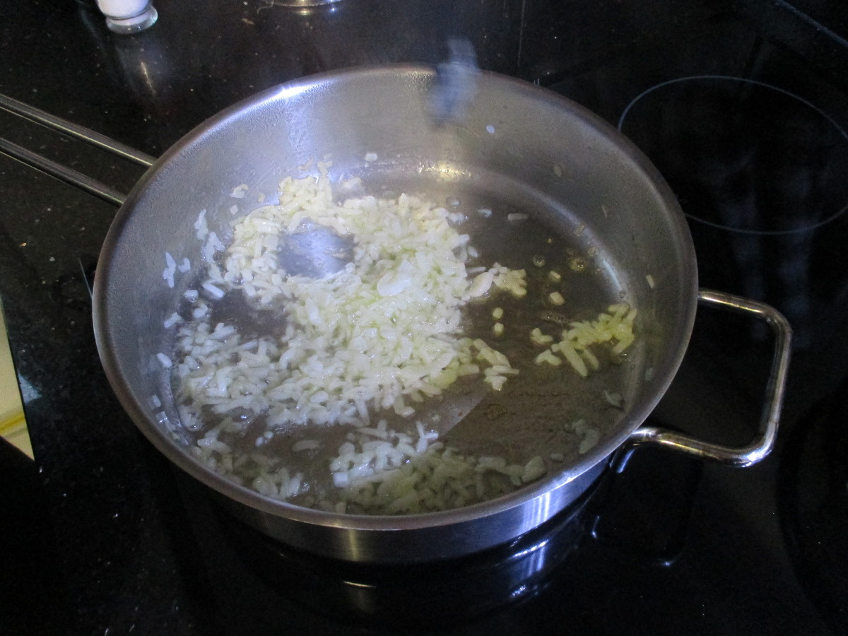 Sauté the onion pieces